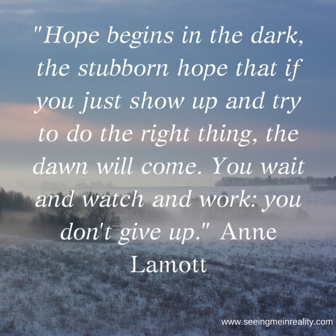 Hope begins in the dark, the stubborn hope that if you just show up and try to do the right thing, the dawn will come. You wait and watch and work_ you don't give up. Anne LamottRead mor